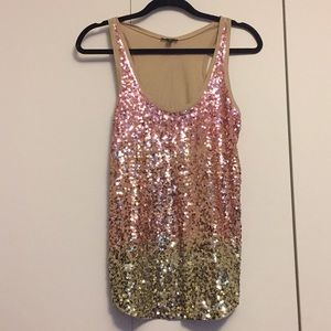 Express Tops - Rose gold sequin tank top